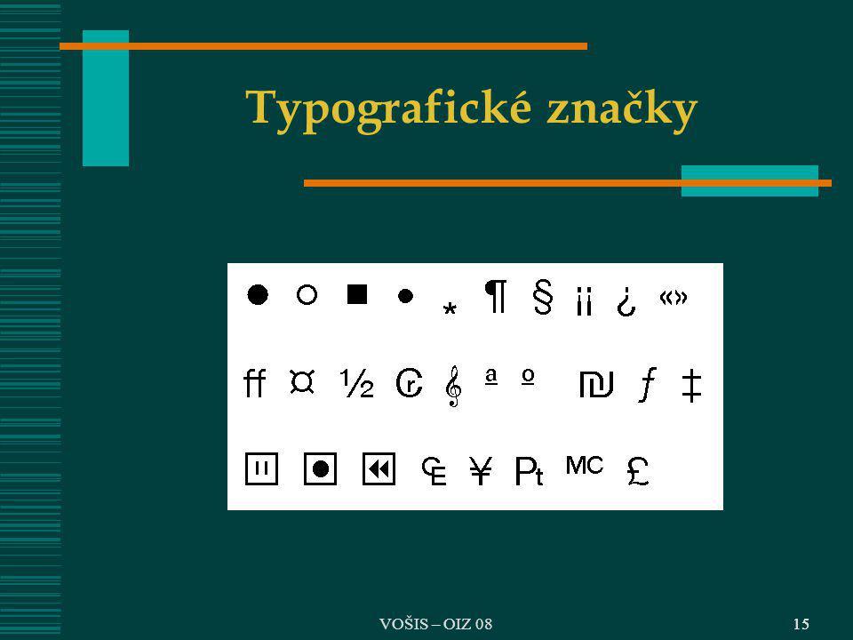 VOŠIS – OIZ 0815 Typografické značky