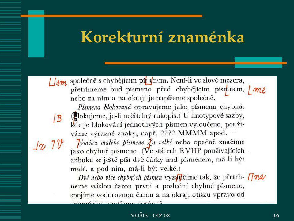 VOŠIS – OIZ 0816 Korekturní znaménka