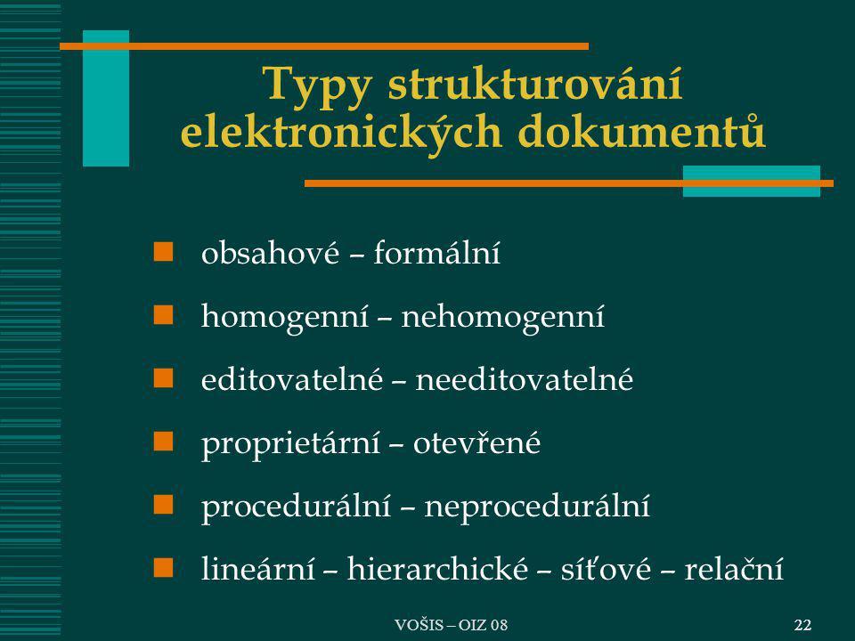 22 Typy strukturování elektronických dokumentů obsahové – formální homogenní – nehomogenní editovatelné – needitovatelné proprietární – otevřené proce