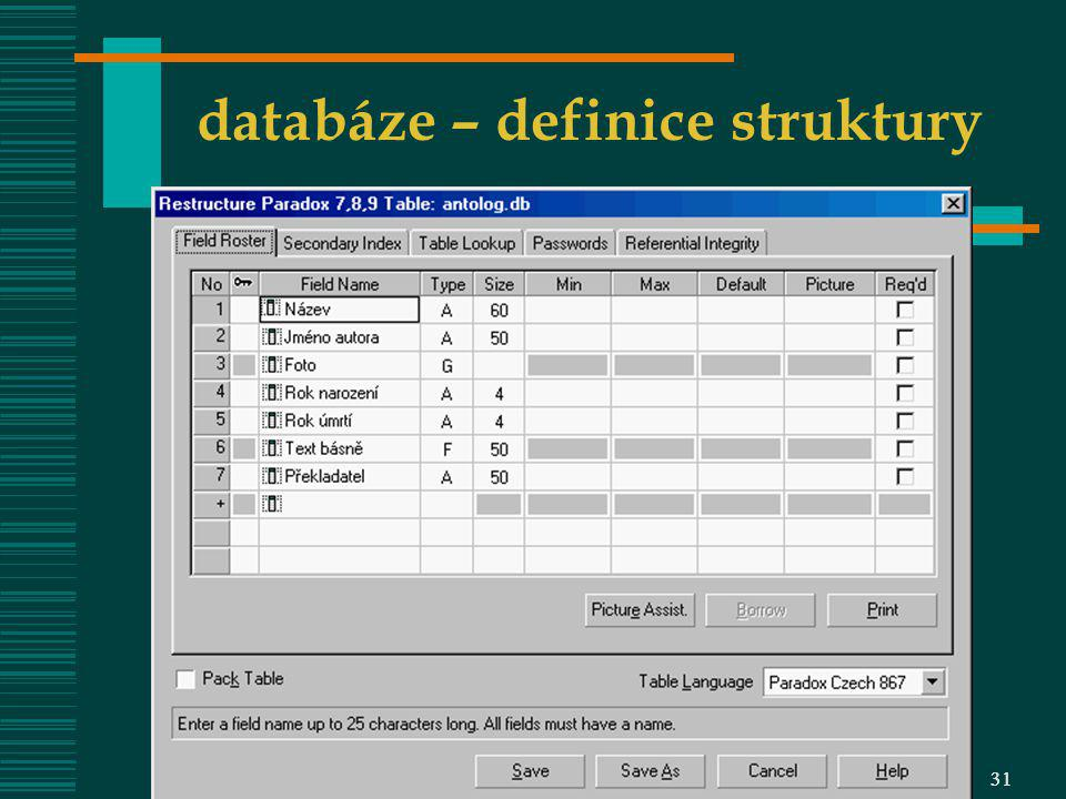 VOŠIS – OIZ 0831VOŠIS - ZIZ 631 databáze – definice struktury