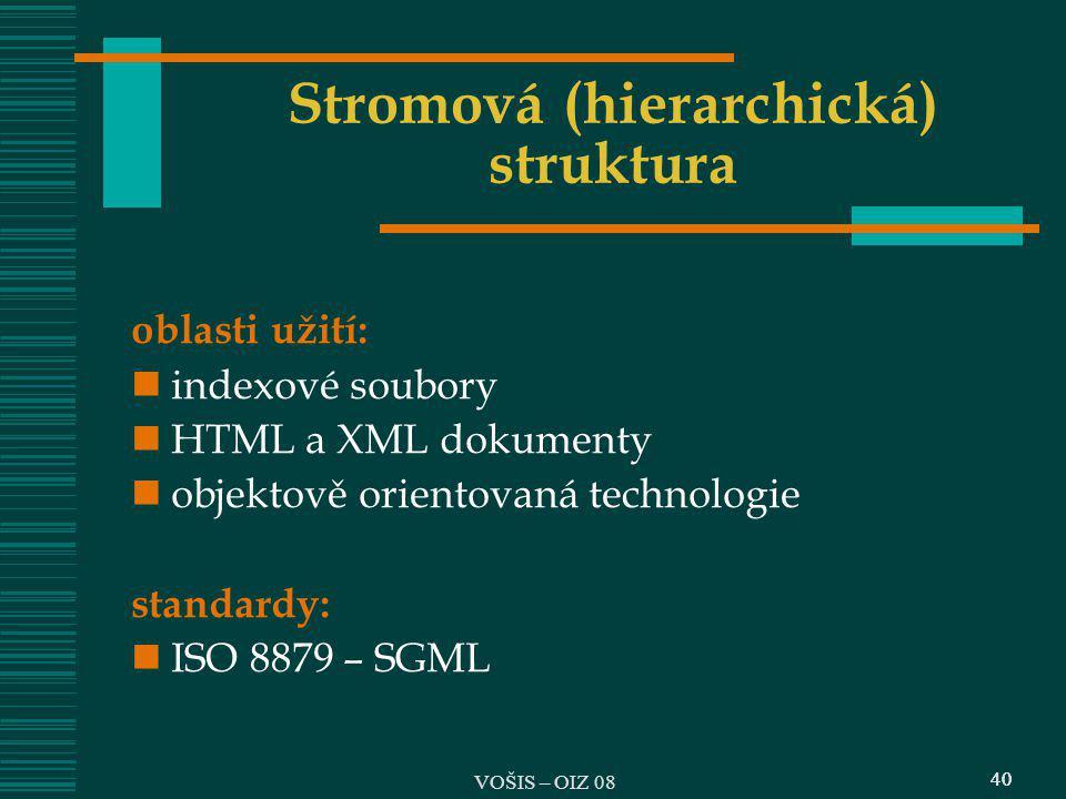 40 Stromová (hierarchická) struktura oblasti užití: indexové soubory HTML a XML dokumenty objektově orientovaná technologie standardy: ISO 8879 – SGML
