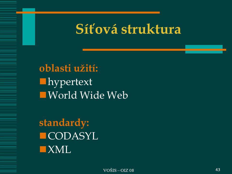 43 Síťová struktura oblasti užití: hypertext World Wide Web standardy: CODASYL XML 43 VOŠIS – OIZ 08
