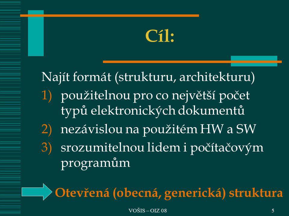 VOŠIS – OIZ 085 Cíl: Najít formát (strukturu, architekturu) 1)použitelnou pro co největší počet typů elektronických dokumentů 2)nezávislou na použitém
