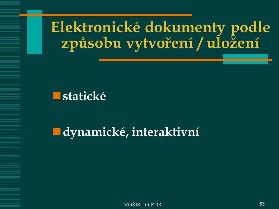 53 Elektronické dokumenty podle způsobu vytvoření / uložení statické dynamické, interaktivní 53 VOŠIS – OIZ 08