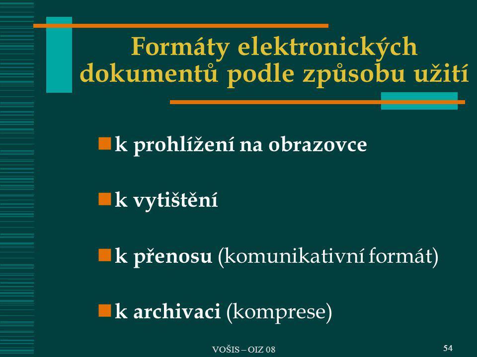 54 Formáty elektronických dokumentů podle způsobu užití k prohlížení na obrazovce k vytištění k přenosu (komunikativní formát) k archivaci (komprese)