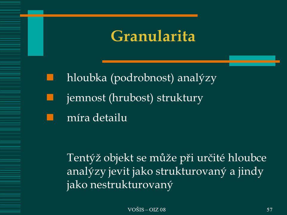 VOŠIS – OIZ 0857 Granularita hloubka (podrobnost) analýzy jemnost (hrubost) struktury míra detailu Tentýž objekt se může při určité hloubce analýzy je