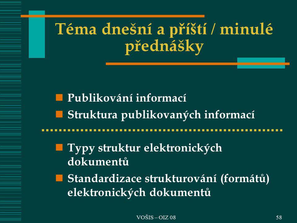 VOŠIS – OIZ 0858 Téma dnešní a příští / minulé přednášky Publikování informací Struktura publikovaných informací Typy struktur elektronických dokument