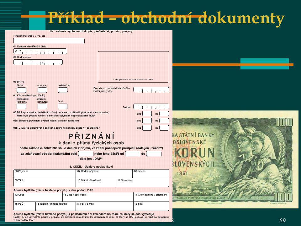 Příklad – obchodní dokumenty 59VOŠIS – OIZ 08
