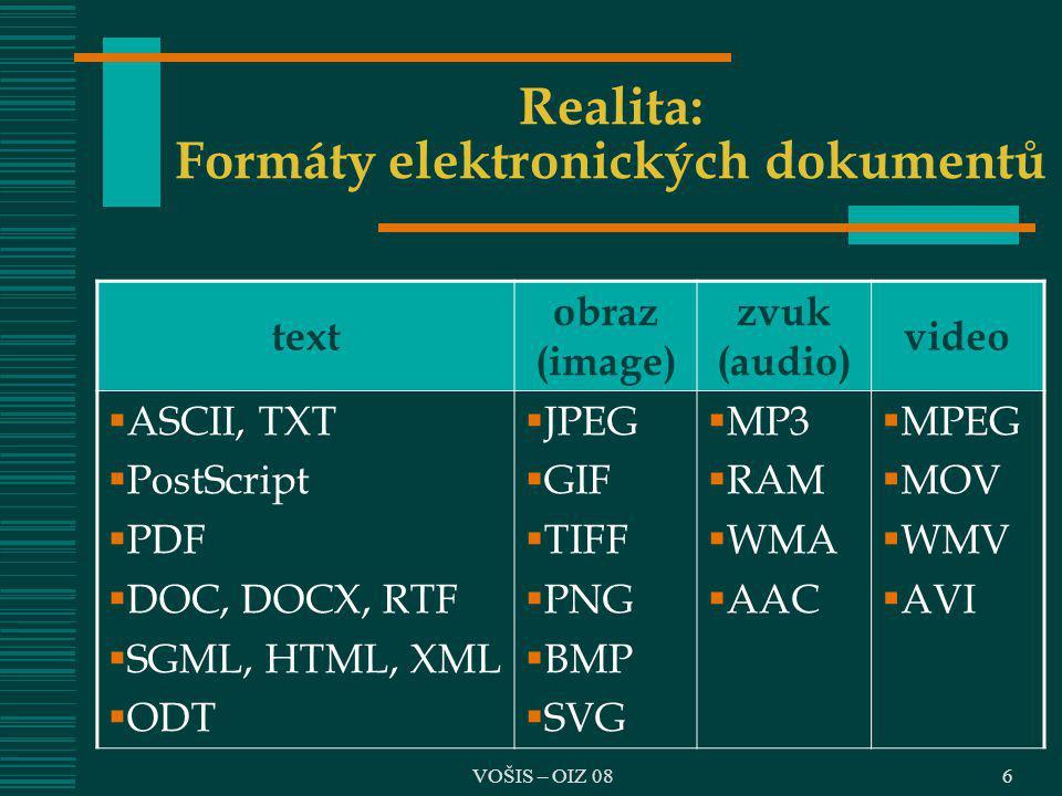 VOŠIS – OIZ 086 Realita: Formáty elektronických dokumentů text obraz (image) zvuk (audio) video  ASCII, TXT  PostScript  PDF  DOC, DOCX, RTF  SGM