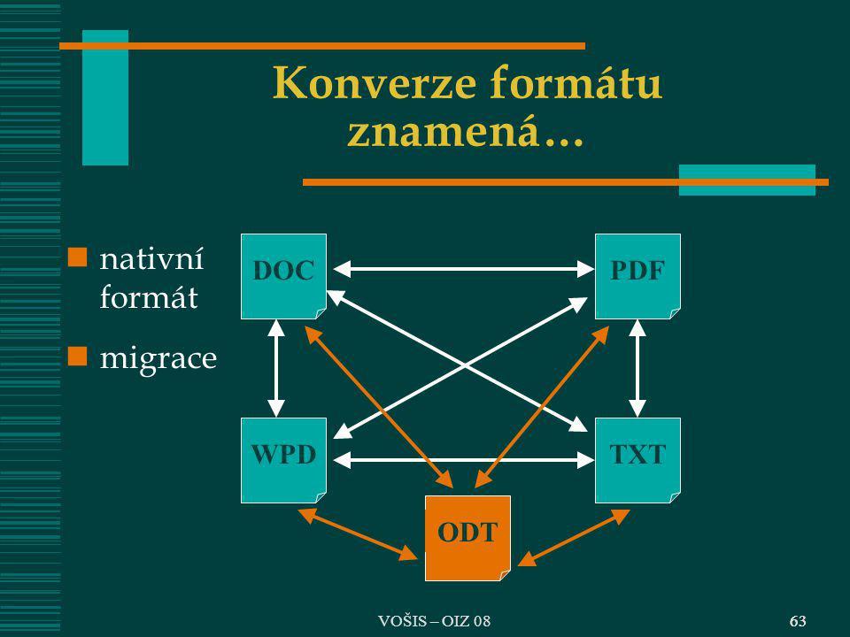 63 Konverze formátu znamená… DOCPDF TXTWPD ODT nativní formát migrace 63VOŠIS – OIZ 08
