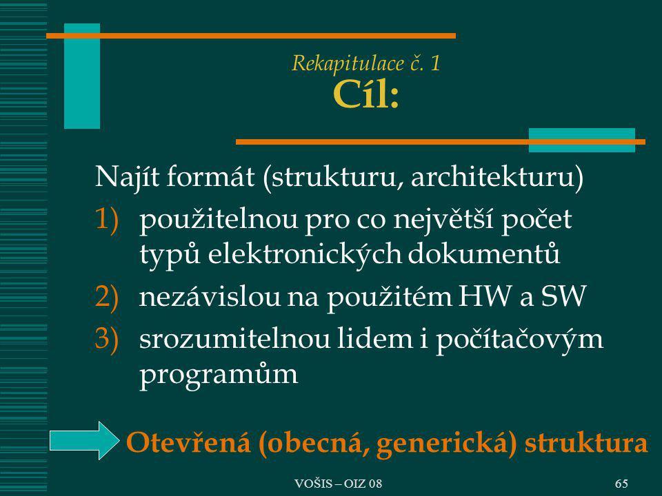 65 Rekapitulace č. 1 Cíl: Najít formát (strukturu, architekturu) 1)použitelnou pro co největší počet typů elektronických dokumentů 2)nezávislou na pou