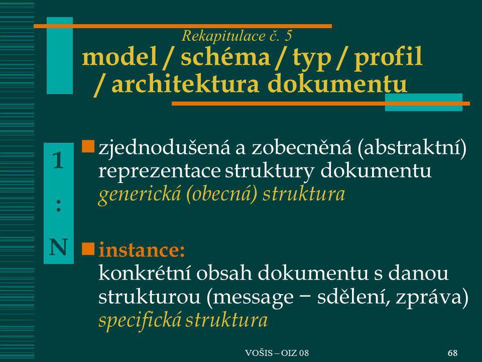 68 model / schéma / typ / profil / architektura dokumentu zjednodušená a zobecněná (abstraktní) reprezentace struktury dokumentu generická (obecná) st