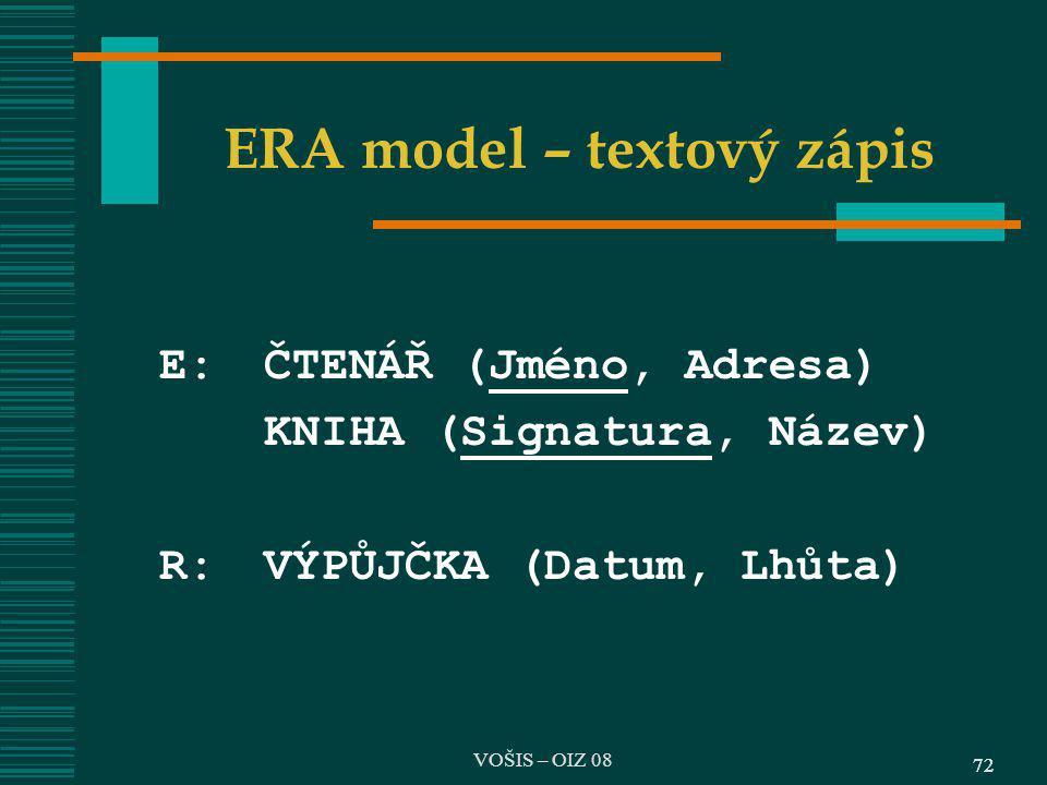 72 ERA model – textový zápis E:ČTENÁŘ (Jméno, Adresa) KNIHA (Signatura, Název) R:VÝPŮJČKA (Datum, Lhůta) 72 VOŠIS – OIZ 08