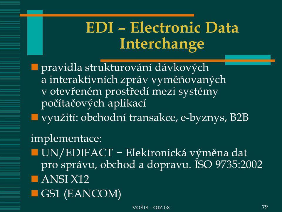 79 EDI – Electronic Data Interchange pravidla strukturování dávkových a interaktivních zpráv vyměňovaných v otevřeném prostředí mezi systémy počítačov