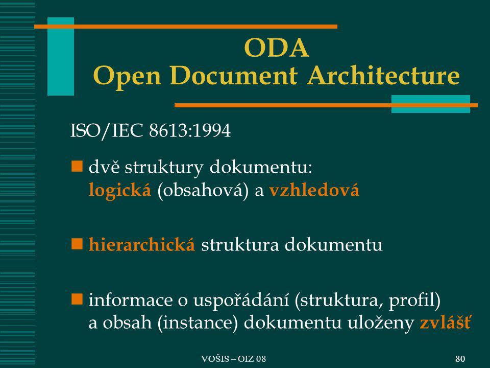 80 ODA Open Document Architecture ISO/IEC 8613:1994 dvě struktury dokumentu: logická (obsahová) a vzhledová hierarchická struktura dokumentu informace