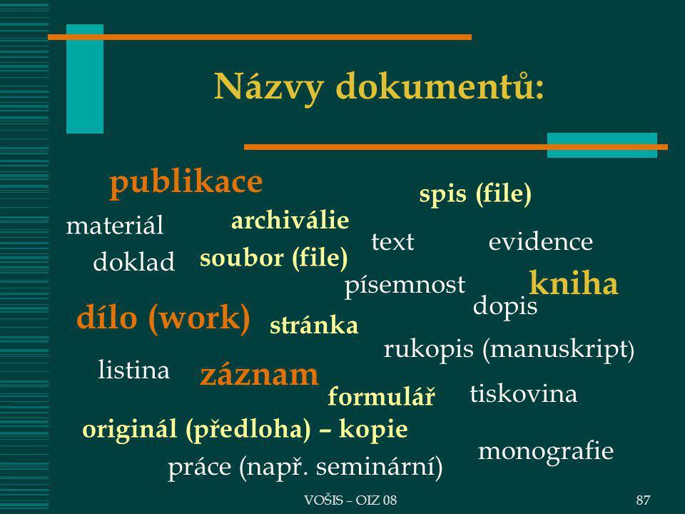 VOŠIS – OIZ 0887 Názvy dokumentů: publikace spis (file) archiválie dílo (work) evidence doklad písemnost listina rukopis (manuskript ) originál (předl