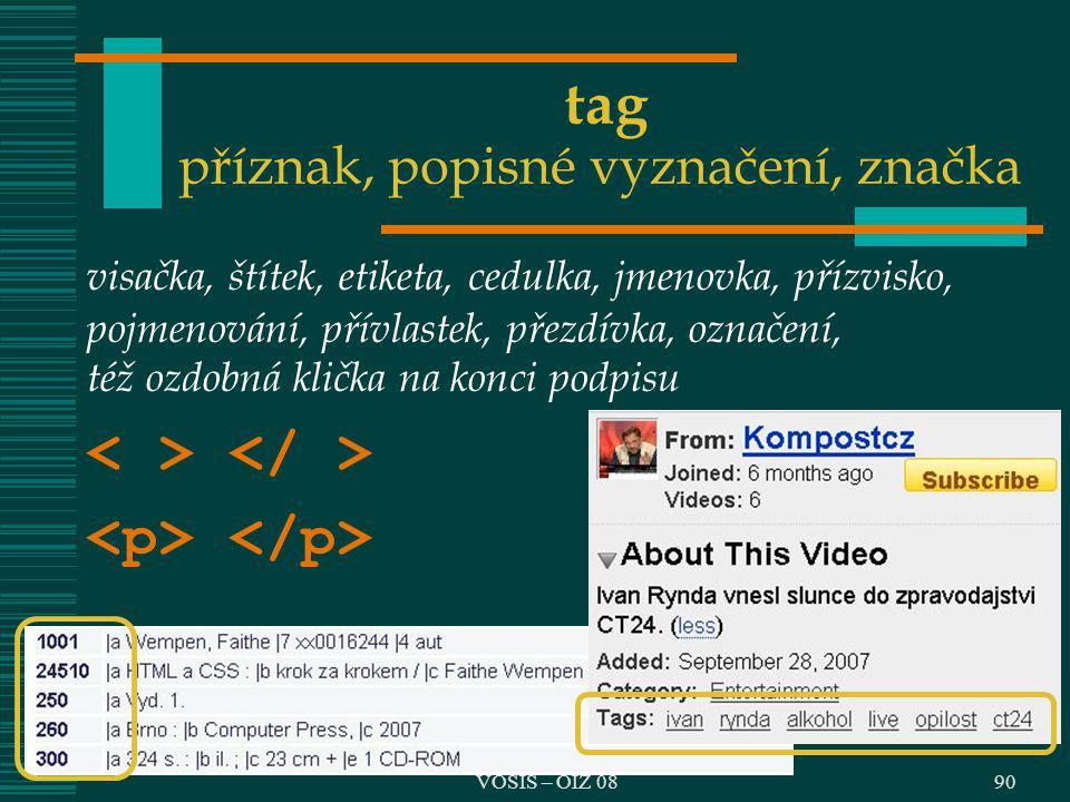 VOŠIS – OIZ 08 tag příznak, popisné vyznačení, značka visačka, štítek, etiketa, cedulka, jmenovka, přízvisko, pojmenování, přívlastek, přezdívka, ozna