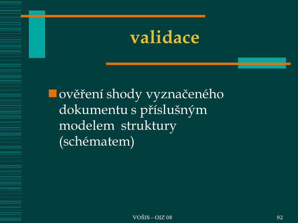 VOŠIS – OIZ 08 validace ověření shody vyznačeného dokumentu s příslušným modelem struktury (schématem) 92