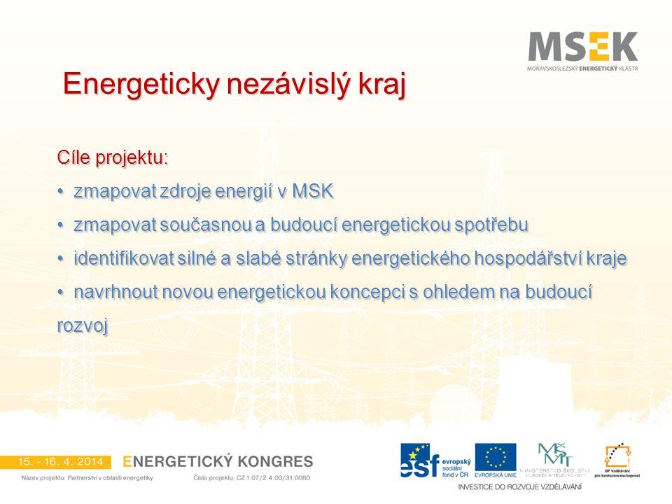 Energeticky nezávislý kraj Cíle projektu: zmapovat zdroje energií v MSK zmapovat zdroje energií v MSK zmapovat současnou a budoucí energetickou spotře