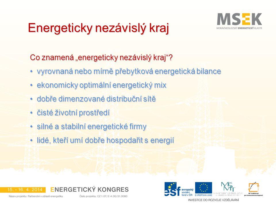 """Energeticky nezávislý kraj Co znamená """"energeticky nezávislý kraj""""? vyrovnaná nebo mírně přebytková energetická bilance vyrovnaná nebo mírně přebytkov"""