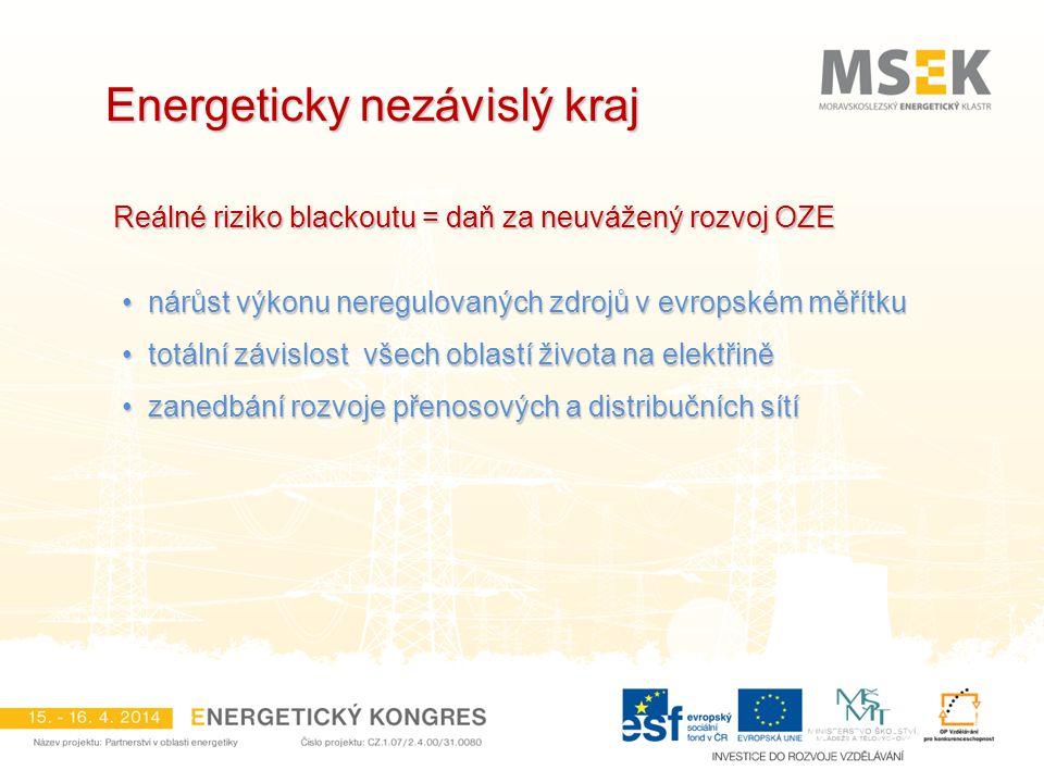 Energeticky nezávislý kraj Reálné riziko blackoutu = daň za neuvážený rozvoj OZE nárůst výkonu neregulovaných zdrojů v evropském měřítku nárůst výkonu