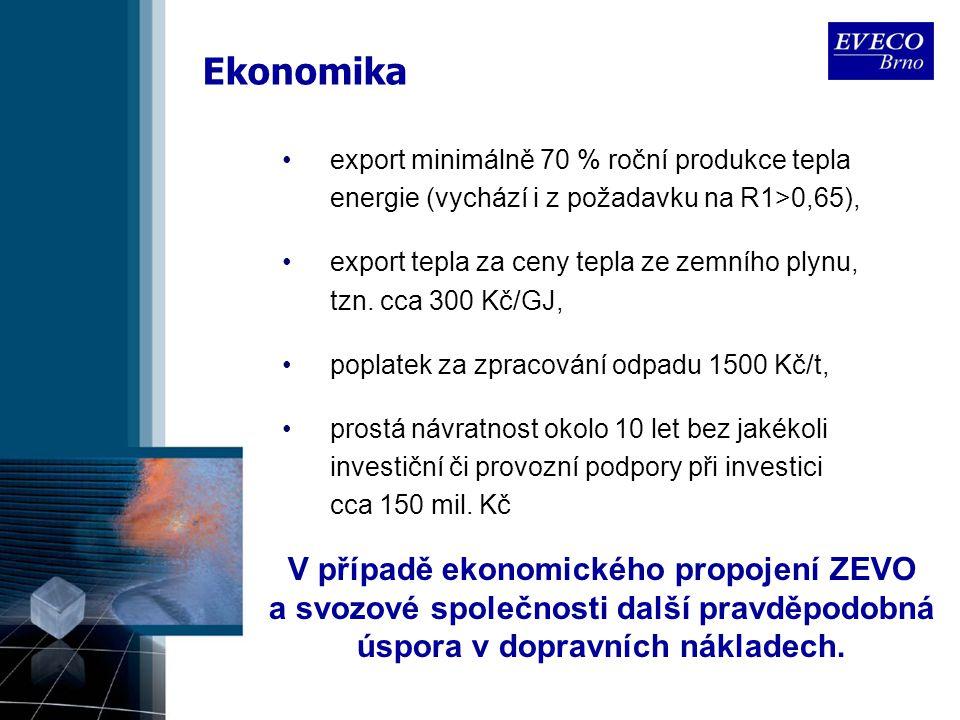 Ekonomika export minimálně 70 % roční produkce tepla energie (vychází i z požadavku na R1>0,65), export tepla za ceny tepla ze zemního plynu, tzn. cca