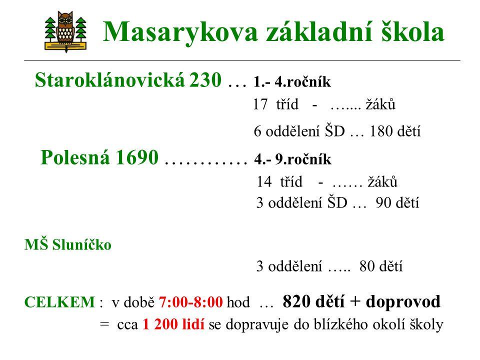 Masarykova základní škola Staroklánovická 230 … 1.- 4.ročník 17 tříd- …....