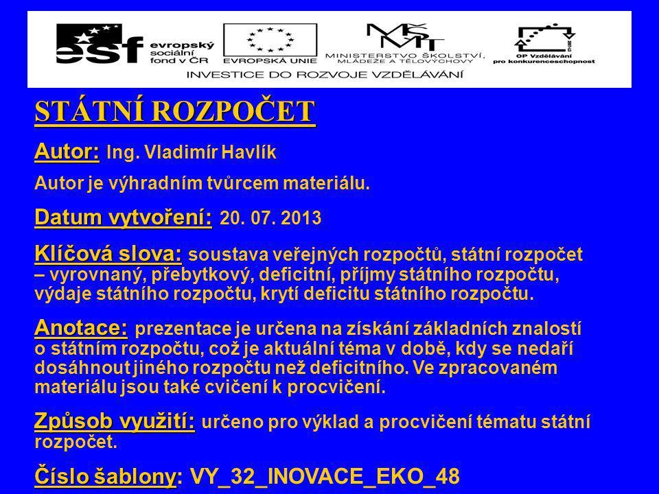STÁTNÍ ROZPOČET Autor: Autor: Ing.Vladimír Havlík Autor je výhradním tvůrcem materiálu.