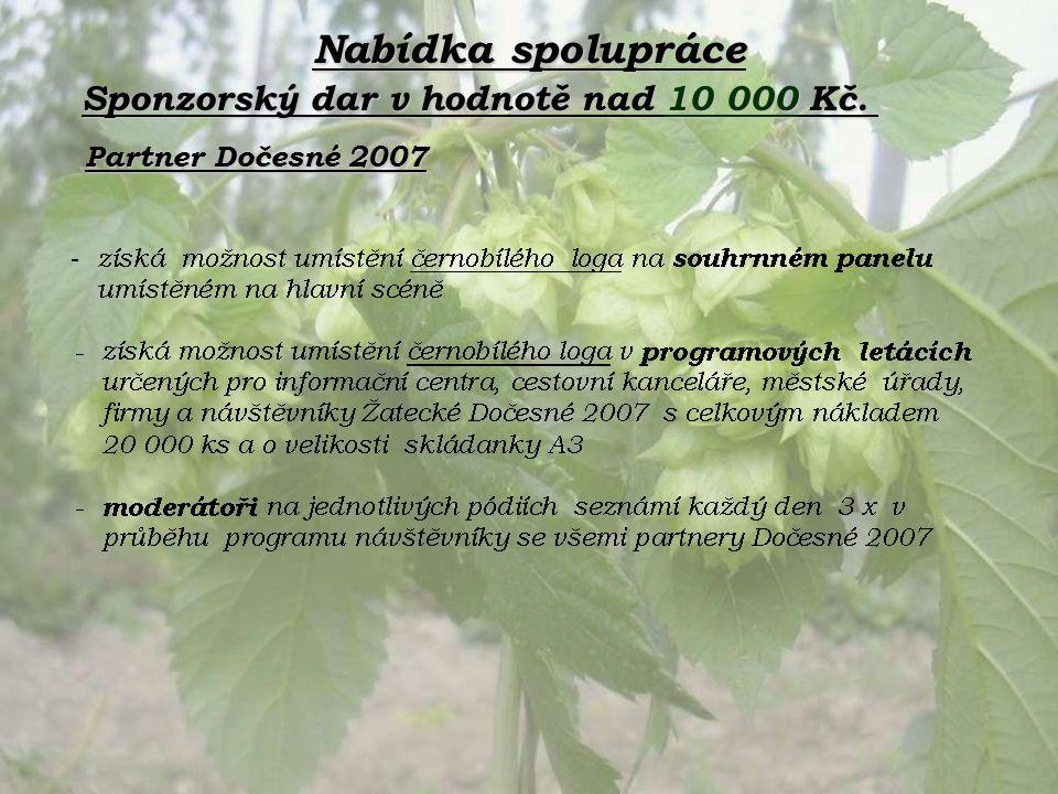 Nabídka spolupráce Partner Dočesné 2007 Sponzorský dar v hodnotě nad 10 000 Kč.