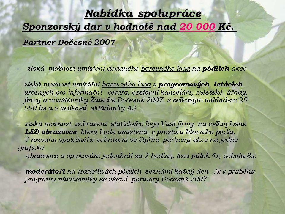 Nabídka spolupráce Partner Dočesné 2007 Sponzorský dar v hodnotě nad 20 000 Kč.
