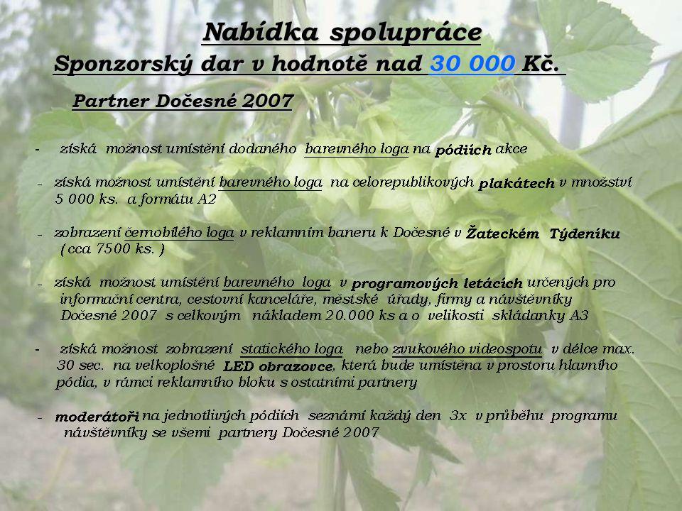 Nabídka spolupráce Partner Dočesné 2007 Sponzorský dar v hodnotě nad 30 000 Kč.