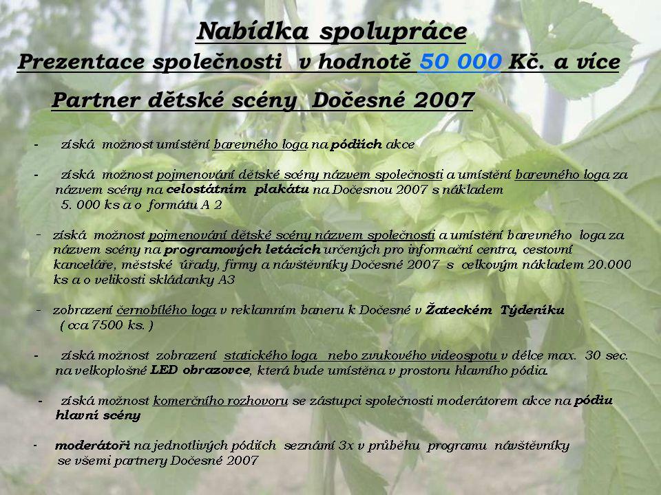 Nabídka spolupráce Partner dětské scény Dočesné 2007 Prezentace společnosti v hodnotě 50 000 Kč. a více