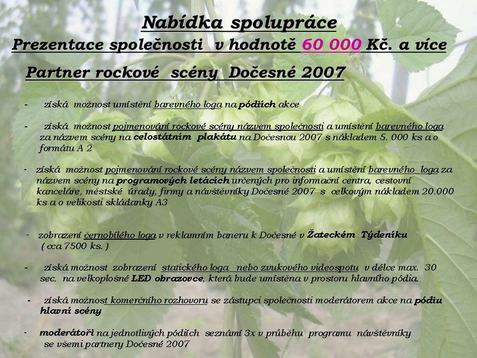 Nabídka spolupráce Partner rockové scény Dočesné 2007 Prezentace společnosti v hodnotě 60 000 Kč. a více