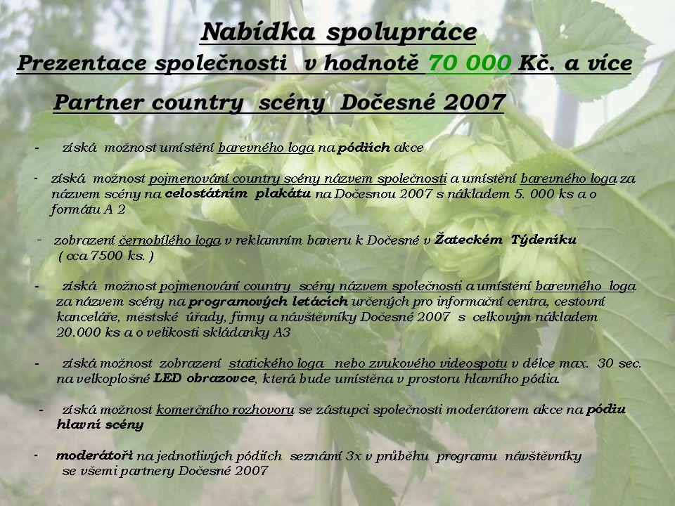 Nabídka spolupráce Partner country scény Dočesné 2007 Prezentace společnosti v hodnotě 70 000 Kč. a více
