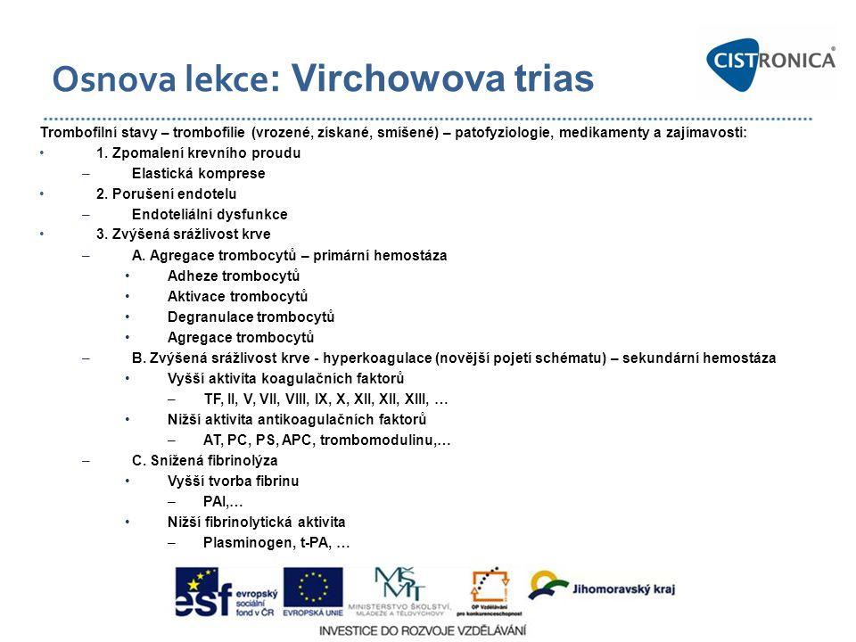 plazminogen Fibrin monomer Protrombinázový komplex monocyt TF P-selektin, cytokiny, endotoxiny, imunokomplexy, CRP TF trombocyt TF VII trombocyt TF VIIa Ca2+ PL IX X Xa IXa trombocyt Ca2+ PL trombocyt Ca2+ PL V Va V V Xa protrombin trombin IXa VIIIa X VIII vWF XIa XI trombocyt Ca2+ PL XIIa XII kalikrein HMWK prekalikrein HMWK XIIa prekalikrein Fibrin multimer solubilní fibrin (SF) trombin XIII XIIIa trombin XIIIa Fibrinogen Prvotní komplex Vnější komplex Vnitřní – tenázový komplex TFPI Xa TFPI Antitr.III Heparan sulfát Antitr.III Heparan sulfát trombin Trombomodulin Ca S VIIIa protrombin annexin proteázy VIII Játra fibrinopeptid A+B (FPA, FPB) Bbeta1-42 Fibrin TAFI PAI-1-3 trombin-antitrombin komplex, TAT plazmin t-PA uPA Fibrin degr.produkty X + Y E + D-dimery DDE, DDXX alfa-2 antiplasmin alfa-2- makroglobulin alfa-1- antitrypsin HRG plazminogen Apo(a) z LDL Bbeta15-42 VIII KM33