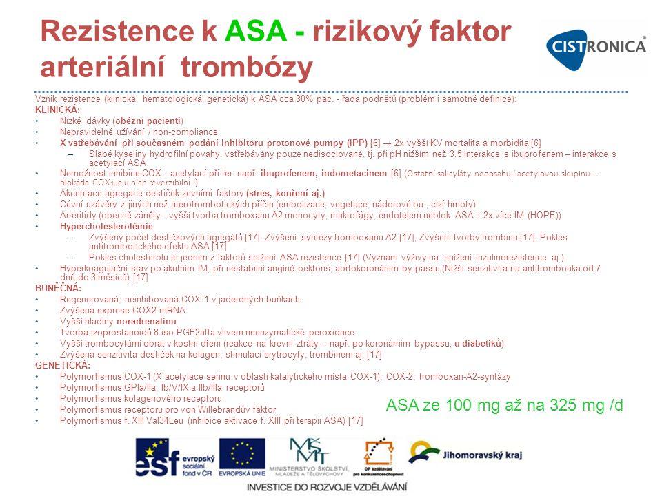 Rezistence k ASA - rizikový faktor arteriální trombózy Vznik rezistence (klinická, hematologická, genetická) k ASA cca 30% pac. - řada podnětů (problé