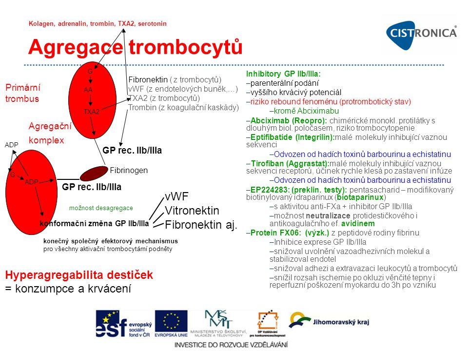 Agregace trombocytů GP rec. IIb/IIIa Fibrinogen GP rec. IIb/IIIa Agregační komplex Inhibitory GP IIb/IIIa: –parenterální podání –vyššího krvácivý pote