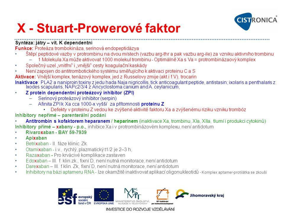 X - Stuart-Prowerové faktor Syntéza: játry – vit. K dependentní Funkce: Proteáza trombokináza, serinová endopeptidázya Štěpí peptidové vazby v protrom