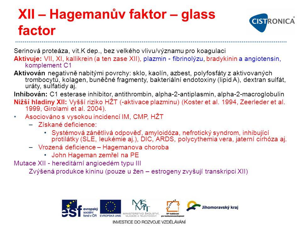 XII – Hagemanův faktor – glass factor Serinová proteáza, vit.K dep., bez velkého vlivu/významu pro koagulaci Aktivuje: VII, XI, kallikrein (a ten zase