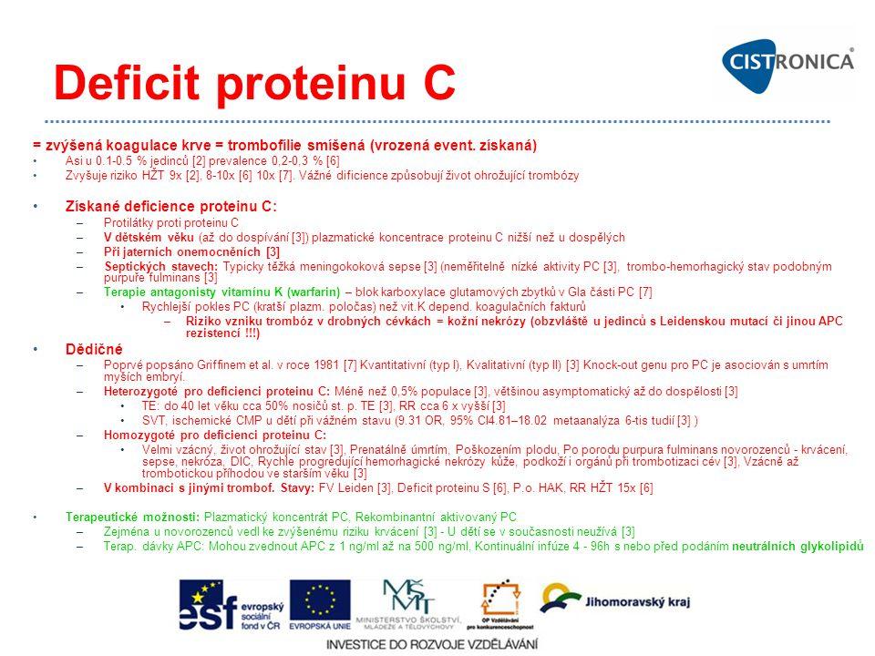 Deficit proteinu C = zvýšená koagulace krve = trombofílie smíšená (vrozená event. získaná) Asi u 0.1-0.5 % jedinců [2] prevalence 0,2-0,3 % [6] Zvyšuj