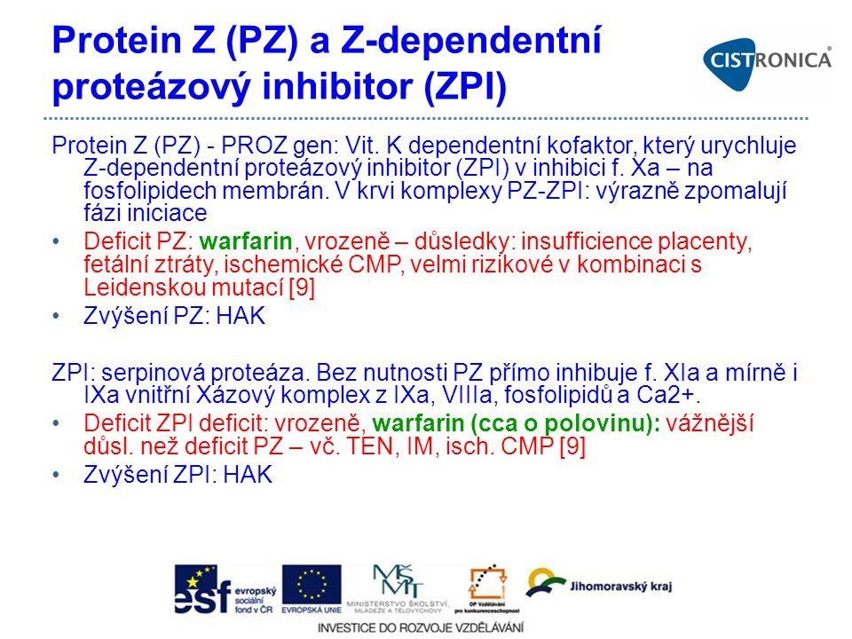 Protein Z (PZ) a Z-dependentní proteázový inhibitor (ZPI) Protein Z (PZ) - PROZ gen: Vit. K dependentní kofaktor, který urychluje Z-dependentní proteá