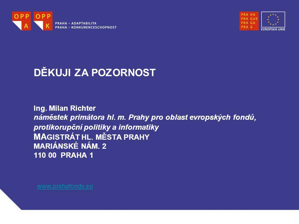 DĚKUJI ZA POZORNOST Ing. Milan Richter náměstek primátora hl.