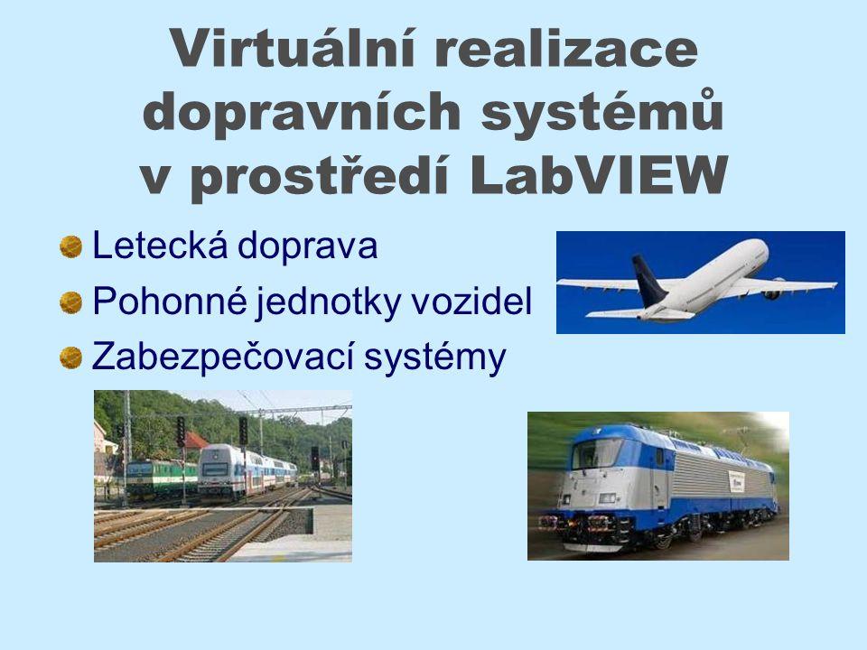 Virtuální realizace dopravních systémů v prostředí LabVIEW Letecká doprava Pohonné jednotky vozidel Zabezpečovací systémy