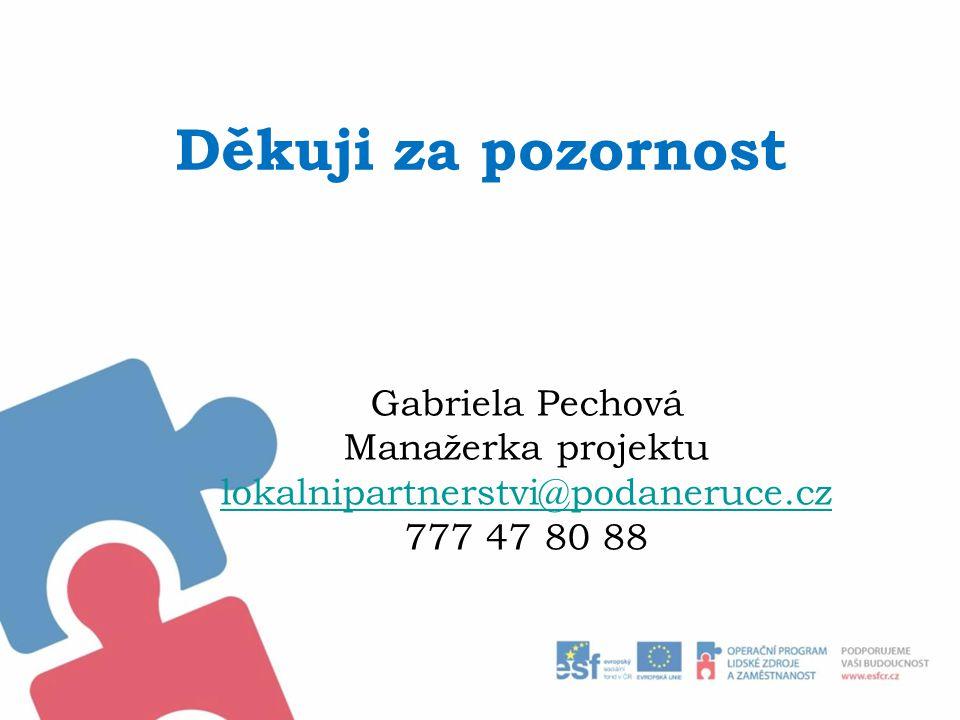 Děkuji za pozornost Gabriela Pechová Manažerka projektu lokalnipartnerstvi@podaneruce.cz 777 47 80 88
