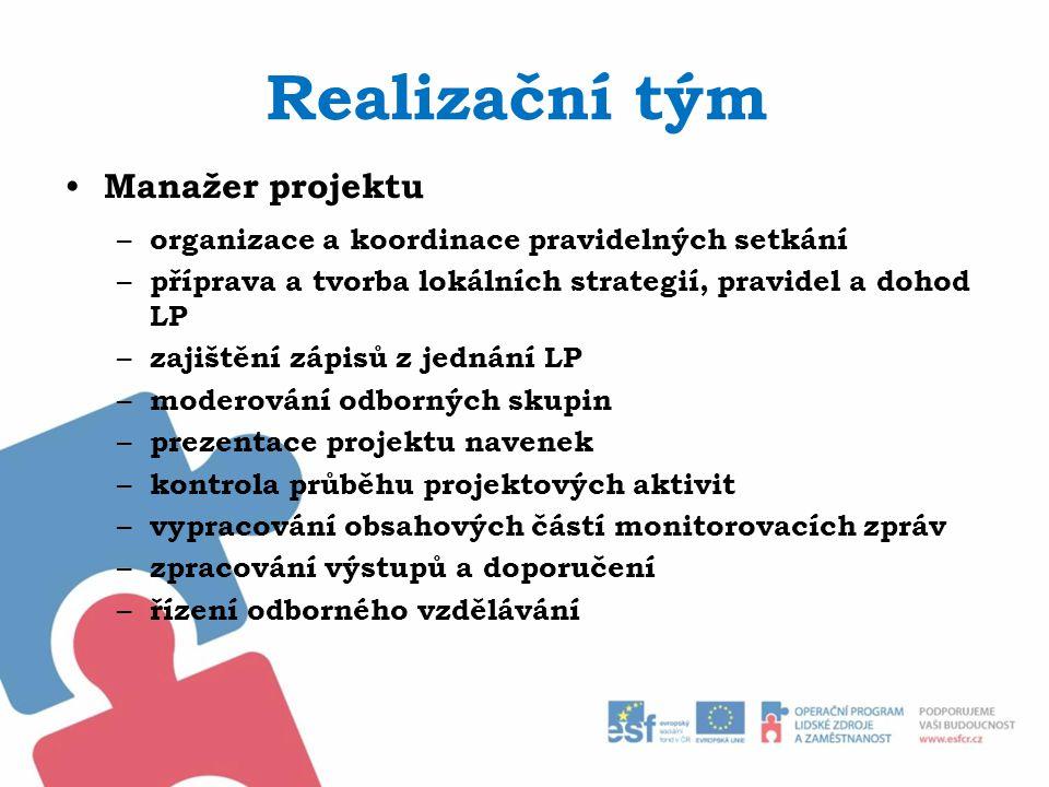Realizační tým Manažer projektu – organizace a koordinace pravidelných setkání – příprava a tvorba lokálních strategií, pravidel a dohod LP – zajištěn