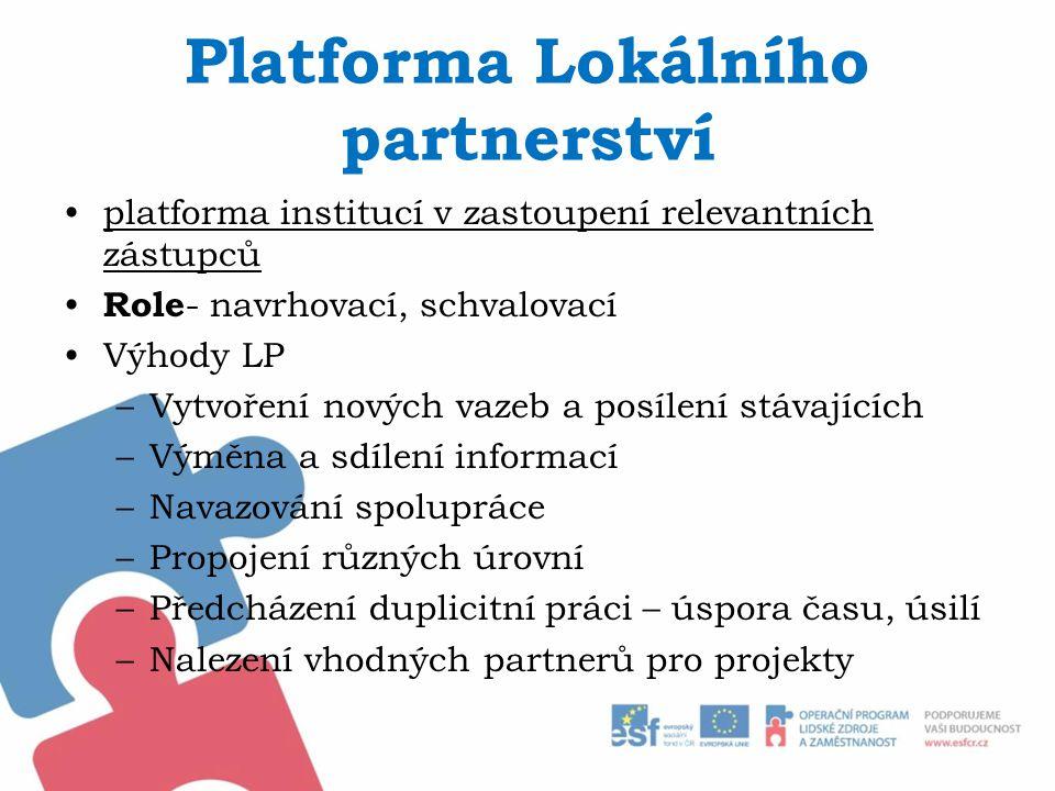 Platforma Lokálního partnerství platforma institucí v zastoupení relevantních zástupců Role - navrhovací, schvalovací Výhody LP –Vytvoření nových vazeb a posílení stávajících –Výměna a sdílení informací –Navazování spolupráce –Propojení různých úrovní –Předcházení duplicitní práci – úspora času, úsilí –Nalezení vhodných partnerů pro projekty