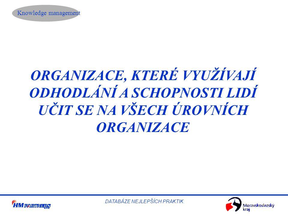 Knowledge management DATABÁZE NEJLEPŠÍCH PRAKTIK ORGANIZACE, KTERÉ VYUŽÍVAJÍ ODHODLÁNÍ A SCHOPNOSTI LIDÍ UČIT SE NA VŠECH ÚROVNÍCH ORGANIZACE