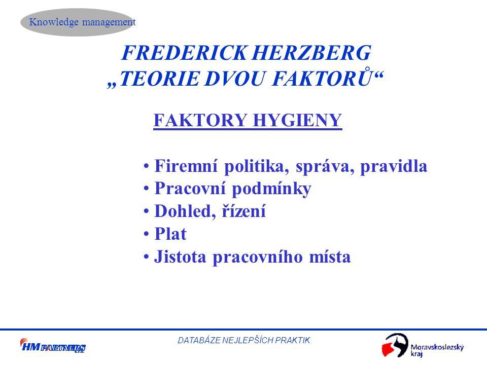 """Knowledge management DATABÁZE NEJLEPŠÍCH PRAKTIK FREDERICK HERZBERG """"TEORIE DVOU FAKTORŮ"""" FAKTORY HYGIENY Firemní politika, správa, pravidla Pracovní"""