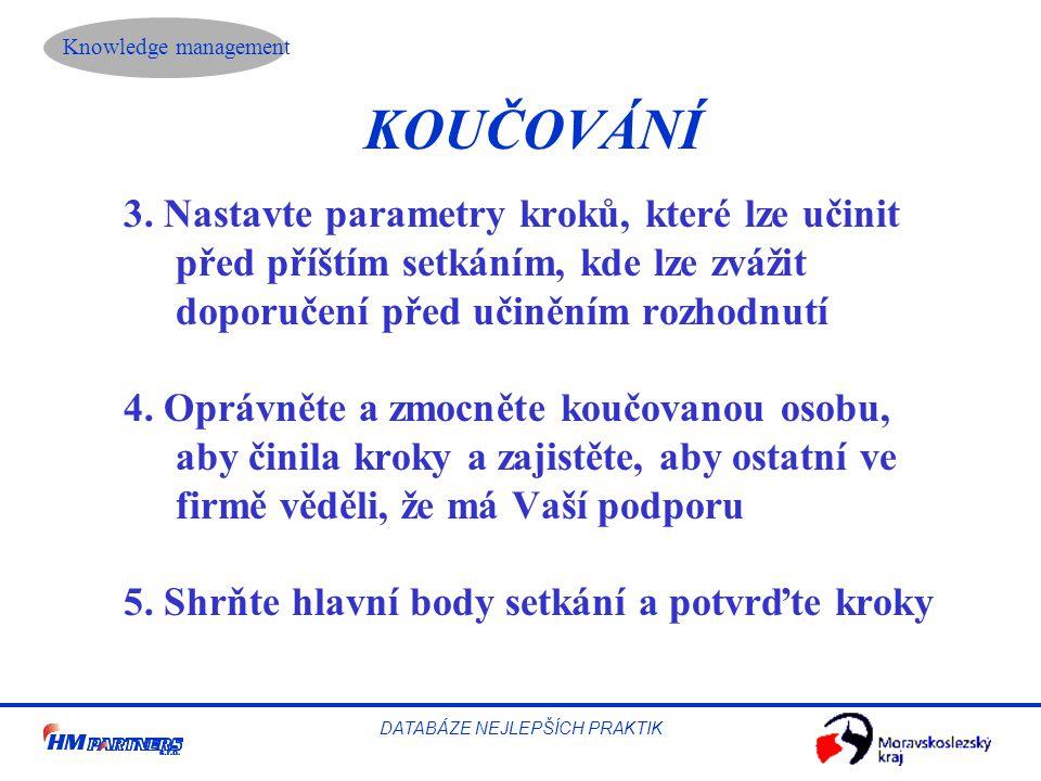 Knowledge management DATABÁZE NEJLEPŠÍCH PRAKTIK KOUČOVÁNÍ 3.