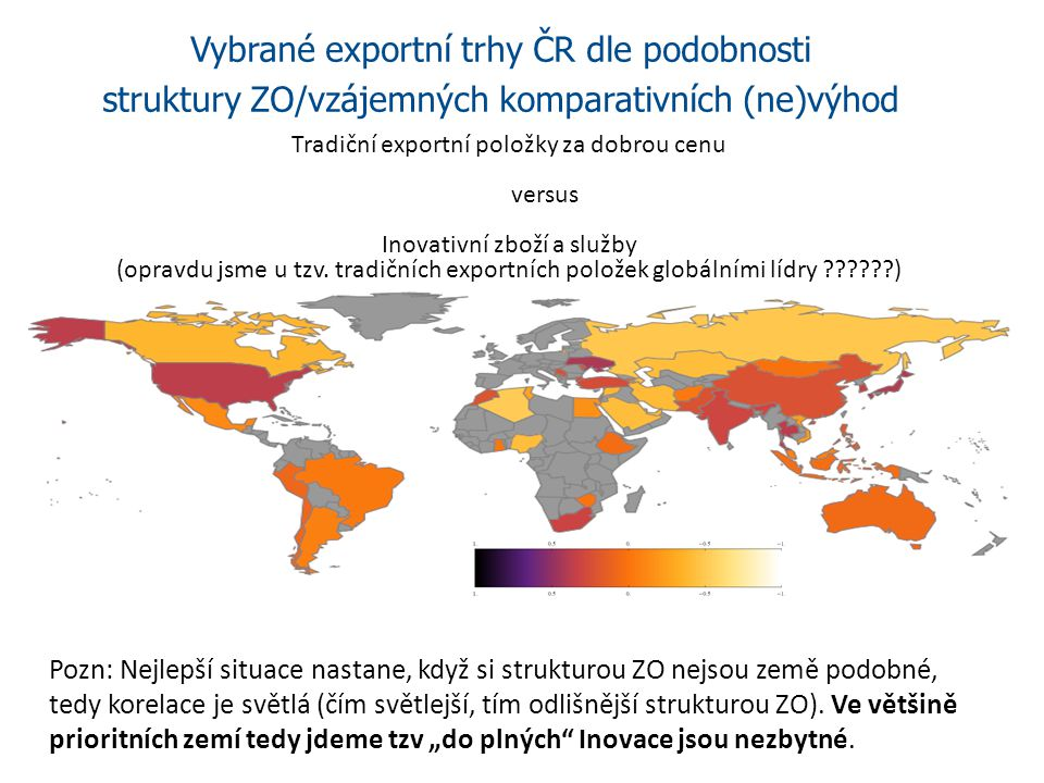Vybrané exportní trhy ČR dle podobnosti struktury ZO/vzájemných komparativních (ne)výhod Pozn: Nejlepší situace nastane, když si strukturou ZO nejsou země podobné, tedy korelace je světlá (čím světlejší, tím odlišnější strukturou ZO).